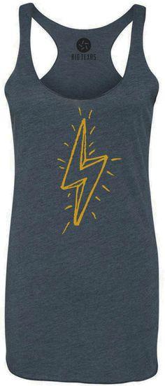 Hand Drawn Lightning Bolt (Yellow) Tri-Blend Racerback Tank-Top