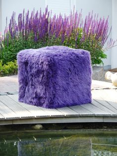 Authentic SHEEPSKIN CUBE Seat - $475.00 FREE SHIPPING - 4 in stock - Loganberry (Bright Purple)  TRENDY...
