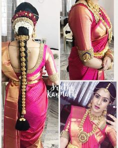 in our signature vanki blouse :) Bridal Hairstyle Indian Wedding, South Indian Bride Hairstyle, Indian Wedding Hairstyles, Pattu Saree Blouse Designs, Bridal Blouse Designs, Saree Hairstyles, Bridal Silk Saree, Indian Designer Wear, Shiva