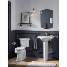 KOHLER Veer H White Vitreous China Pedestal Sink Combo at Lowe's. The Veer pedestal sink combines crisp, sophisticated style with a functional design that's perfect for smaller bathrooms. Bathroom Interior Design, Home Interior, Interior Ideas, Pedestal Sink Bathroom, Pedestal Sink Storage, Sink Faucets, Wainscoting Bathroom, Black Wainscoting, Painted Wainscoting