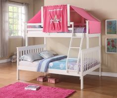 Twin over Full mission Bunk Bed with Built-In Ladder by Donco Kids. Young and Preteen kids Love this bed. Perfect for kids or guest room.The frame is built of 100% solid pine wood and reinforced with steel, for a durable bed.    Twin Over Full Bunk Bed w/ Tent Kit (1223W (White w/ Pink Tent) By Furniture4You http://www.amazon.com/dp/B00IAHTO8E/ref=cm_sw_r_pi_dp_etTItb0AQ56VZKQK