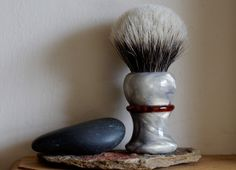 Shaving Brush - Golden Marble and Copper Resin Handle Hand-Made with Two Band Finest Badger Knot by LoveYourShave on Etsy