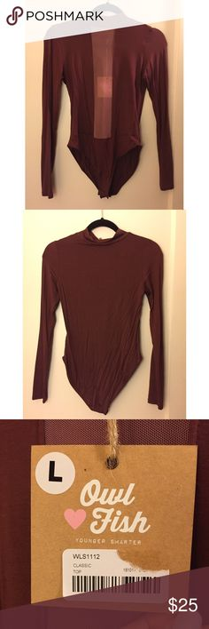 Long Sleeve Sheer Panel Body Suit in Burgundy Long sleeve body suit with a sheer panel. Color in Burgundy. Snap closure on the bottom of body suit. NWT! **please excuse the wrinkles on the one side!** Owl Fish Tops Tees - Long Sleeve