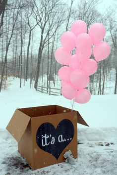 it's a... gender reveal balloon box sign printable file chalkboard by Lindstackett on Etsy