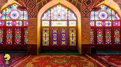 One of the most elegant and most photographed pieces of architecture in southern Iran, the Pink Mosque was built at the end of the century and its colored tiling (an unusually deep shade of blue) is exquisite. Persian Architecture, Mosque Architecture, Art And Architecture, Broken Glass Art, Sea Glass Art, Stained Glass Art, Water Glass, Pink Mosque, Deeper Shade Of Blue