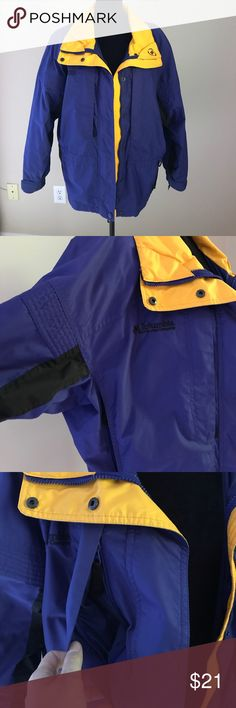 Yellow & Purple Columbia Sport Jacket Great mid weight jacket for any outdoor activity. Gently used. Comes a little below waist. Purple shell with yellow and black accents, nylon lining. Four exterior zipper pockets. Synch at waist or bottom for secure fit. Machine washable. Bundle and save! Smoke free home. Columbia Jackets & Coats