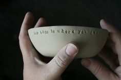 I love words in clay