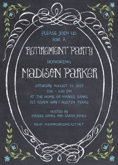 slate chalkboard teacher retirement party invitations chalkboard
