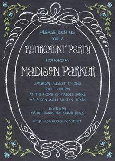 Red and Gold Chalkboard Retirement Invitation | Teacher Retirement ...