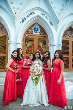 A Gorgeous Church Wedding Amidst A Vibrant Ambience Indian Wedding Bridesmaids, Indian Bridesmaid Dresses, Bridesmaid Saree, Bridal Dresses, Bridesmaid Outfit, Christian Wedding Dress, Christian Bridal Saree, Christian Bride, Wedding Photoshoot