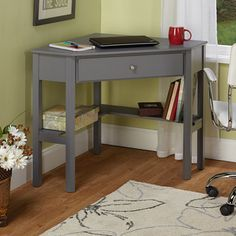 @Overstock - Simple Living Ellen Grey Corner Desk - Create useful space in your home or office with this casually styled Ellen corner desk. The simple grey finish and chrome knob have a stylish appearance perfect for keeping your room organized and functional.  http://www.overstock.com/Home-Garden/Simple-Living-Ellen-Grey-Corner-Desk/9176859/product.html?CID=214117 $121.99
