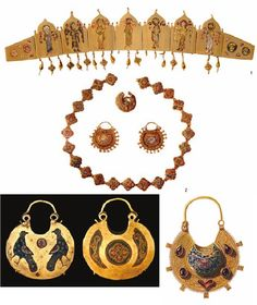Gold and enamel kolty. Finds from Kiev excavations.