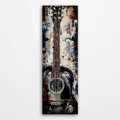 Acoustic Guitar painting Original palette knife acrylic on canvas Music Art…