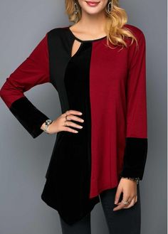 Asymmetric Hem Velvet Patchwork Cutout Front Blouse - All About Stylish Tops For Girls, Trendy Tops For Women, Stylish Shirts, Blouses For Women, Blouse Styles, Blouse Designs, Blue Crop Tops, Red Blouses, Formal Blouses