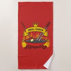Grill Queen Beach Towel - home gifts ideas decor special unique custom individual customized individualized