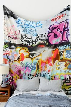 Graffiti Tapestry from UO.com - got two and covered entire wall, in lieu of wallpaper.