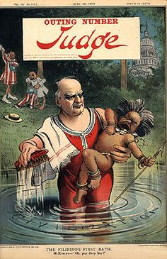 """J.R.C.- Cartoonist Grant Hamilton created this political cartoon titled """"The Filipino's First Bath"""". Grant Hamilton drew for the magazine Judge that was formed by artists who had seceded from the highly acclaimed Puck Magazine. Judge produced material based mainly off of the issues present during the times and in this material, Hamilton focuses on the Imperialist view of America. This material was published on June 10, 1899, during the aftermath of the Spanish-American War."""