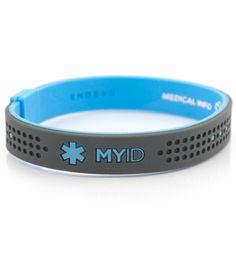 MyID Sport Blue and Gray Medical ID Bracelet. Very interesting. New idea in medical ID bracelets