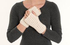 Chunky Crochet Wool Fingerless Gloves Knit by BrennaAnnHandmade