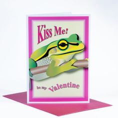KISS ME Be my Valentine romantic card frog love by stuartconcepts