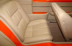 Muscle Car Custom Car UpholsteryJNG Creations Source by Camaro Interior, Car Interior Upholstery, Custom Camaro, Car Cleaning Hacks, Chevrolet Chevelle, Rear Seat, Muscle Cars, Car Interiors, Shop Ideas