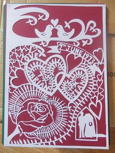 Original hand drawn 40th wedding anniversary commissioned papercut by Nina Byers.