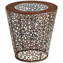 Alicia Circle Iron and Glass Round Side Table