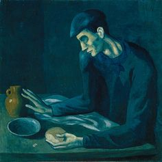 "Picasso, The Blind Man's Meal, 1903. From his blue period. I used to ""visit"" this at the Metropolitan Museum of Art, In NYC."