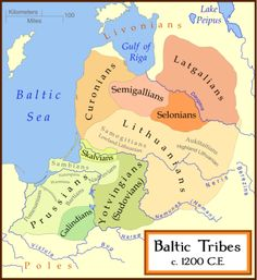 A map showing the Baltic tribes circa 1200 AD.