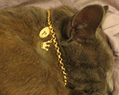 Personalized cat collar cat initial collar by OlaJewelryDesign