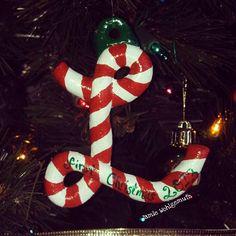 Handmade Candy Cane Letter Ornament -Lorelei's 1st Christmas!  salt dough, acrylic paint, glossy spray sealer