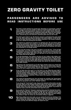 """How to use the zero-gravity toilet instructions, from 2001: A SPACE ODYSSEY (1968). Stanley Kubrick called this the """"Only intentional joke in the film""""."""