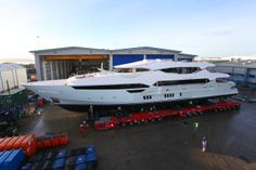 Sunseeker's largest-ever yacht, the 155, is nearing completion. It boasts impressive accommodations for up to 12 guests, while the forward lower deck area can accommodate up to 10 crew members with a separate captain's cabin.