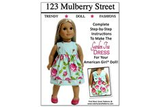 The Garden Tea Dress Doll Clothes Pattern for American Girl ® | Liberty Jane Doll Clothes Patterns For American Girl Dolls $3.99