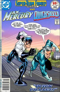 This is a dream issue for me. Super-Team Family: The Lost Issues!: Max Mercury and Quicksilver Dc Comics Vs Marvel, Hq Marvel, Comic Art Fans, Comic Books Art, Book Art, Dc Heroes, Comic Book Heroes, Quicksilver Marvel, Marvel And Dc Crossover
