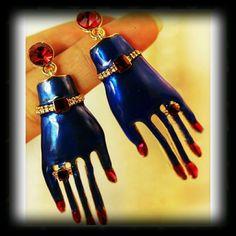New Funky Metal Blue Enamel Hand Earrings