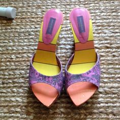 Emilio Pucci slides/wedges. 7 Awesome spring/summer shoe!  Typical awesome Emilio pattern and color scheme. Used but good condition. Price firm. Emilio Pucci Shoes