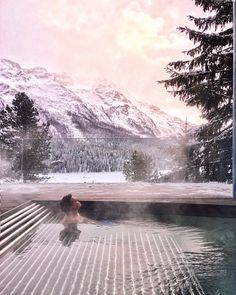 Carlton Hotel in St Moritz, Switzerland. Views overlooking the frozen lake and snowy Swiss alps. Der Pianist, Switzerland Hotels, Carlton Hotel, Das Hotel, Swiss Alps, Winter Travel, Outdoor Pool, Frozen, Wall Art