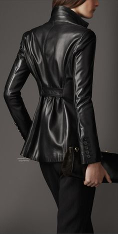 Burberry- soft, supple cinched leather jacket