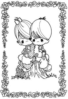 Valentines day coloring pages... I loved Precious Moments coloring books growing up.