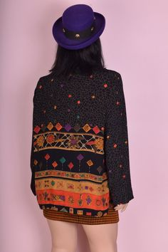 80s Deadstock Printed Lightweight Cardigan/ XL/ 1980s