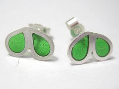 Modernist take on enamelling with this sterling silver studs