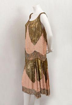 // 1925 pink & gold sequin flapper dress