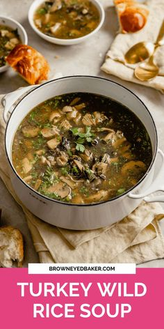 This super simple turkey wild rice soup completely transforms that pile of leftover turkey you have in the refrigerator following Thanksgiving dinner. With the addition of fresh cremini mushrooms and a rich broth, this is sure to be a favorite for years to come! If you don't have any leftovers or turkey broth, you can easily substitute cooked chicken and chicken broth for an equally delicious soup!