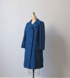 Blue Wool Coat / 1960s Coat / Military Coat / Sapphire Blue