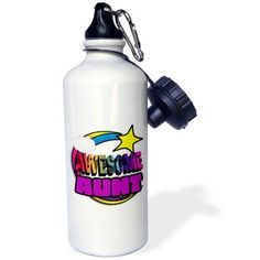3dRose Shooting Star Rainbow Awesome Aunt, Sports Water Bottle, 21oz