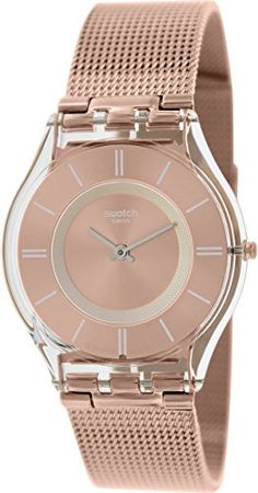 Women's Wrist Watches - Swatch Womens SFP115M Skin Rose GoldTone Watch with Mesh Band ** Read more at the image link.