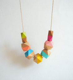 Neon Geometric Necklace ,Handpainted Wood Geometric Necklace,Geometric Jewelry on Etsy, $19.00