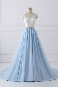 Blue lace tulle long prom dress, blue evening dress, blue formal dress #longpromdresses