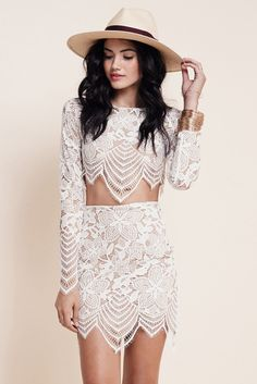 New Stylish Ladies Women Two Pieces Long Sleeve Embroidered Floral Crop Top and Sexy Floral Skirt_Jumpsuits/Romper_Women_Women's Fashion Zone & Best Price Clothes Set Fashion, Look Fashion, Womens Fashion, Fashion 2016, Fashion Spring, Trendy Fashion, Fashion Online, Fashion Jewelry, Cropped Tops